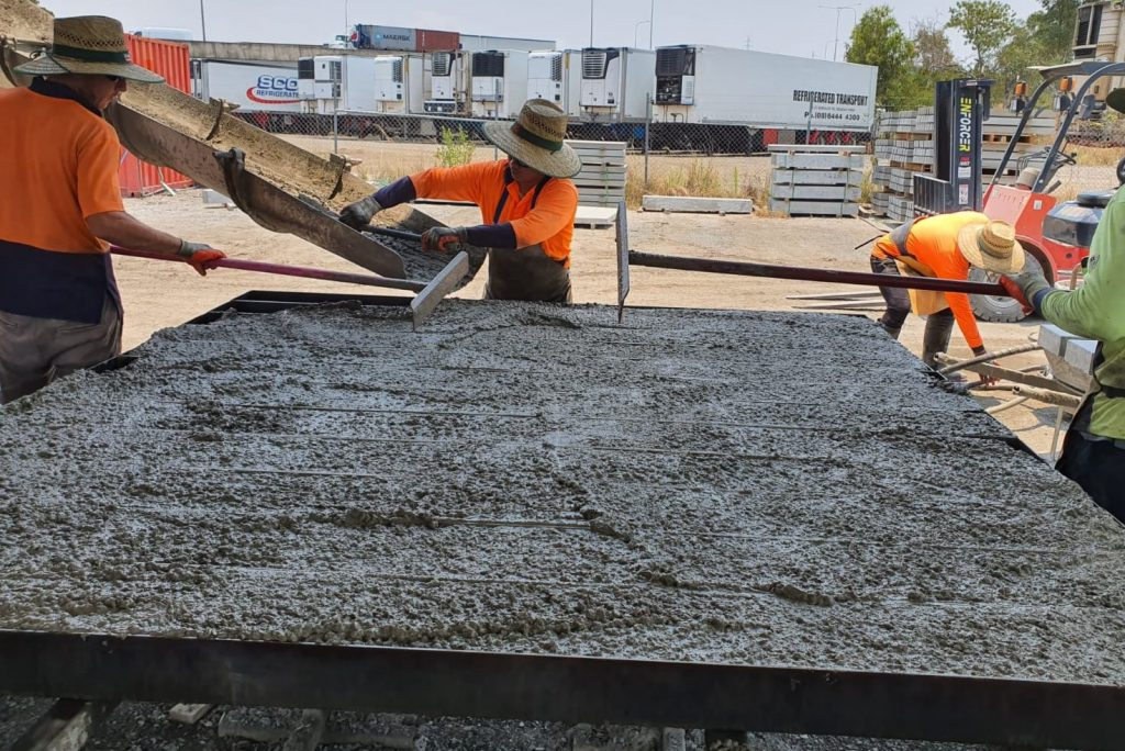 Durawall pouring concrete into sleeper moulds manufacturing process