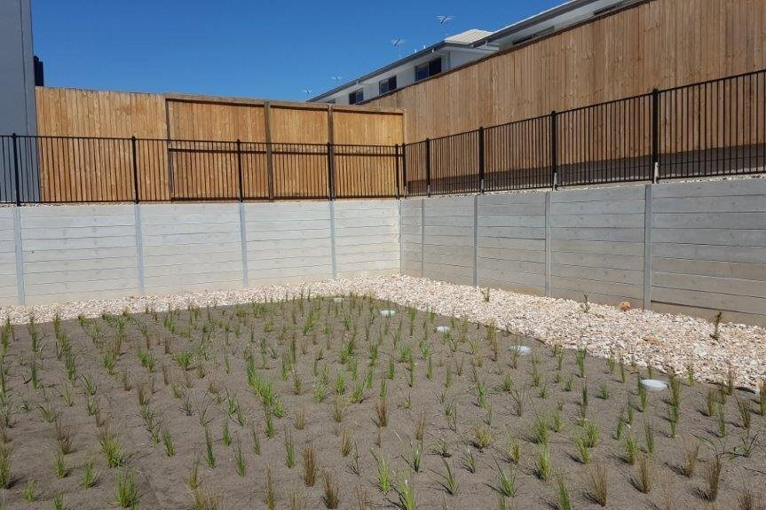 Durawall building a bio-retention wall in Dakabin