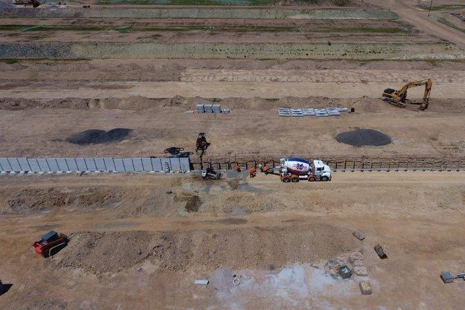 Durawall concrete sleepers at narangba development aerial view