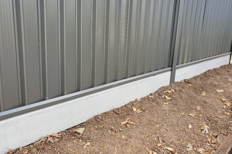 Durawall concrete sleepers for under colorbond fencing
