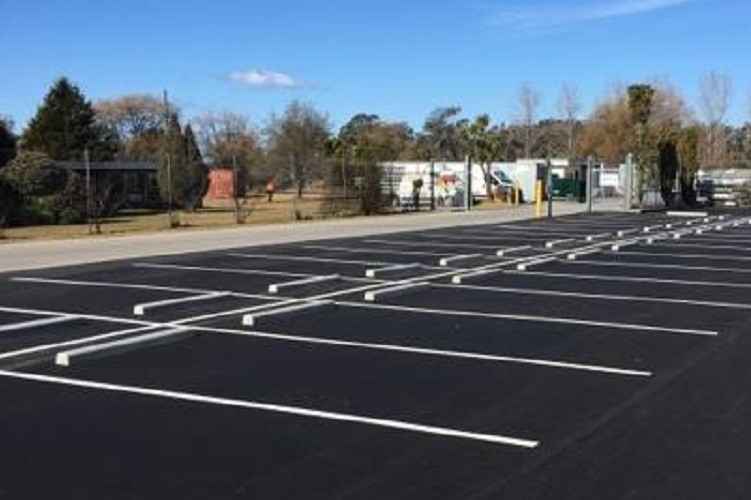 Durawall concrete wheel stops installed in Braemer parking lot