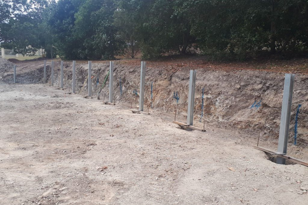 Durawall retaining wall 2.4m structural sleepers at Bahrs Scrub