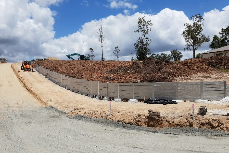 Durawall retaining wall driftwood design in Caboolture Estate