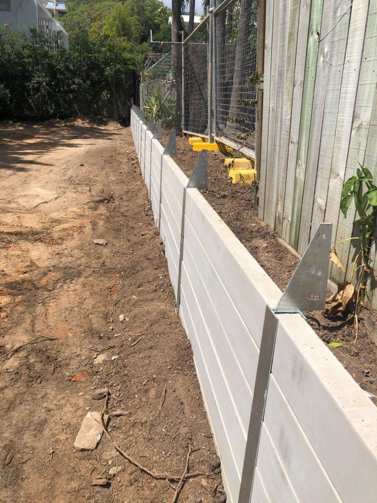 Durawall retaining wall on boundary inner Brisbane