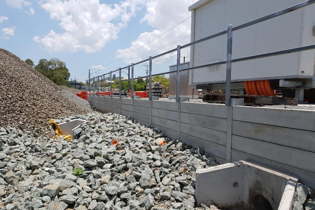 Durawall retaining wall for QLD Rail at Murarrie