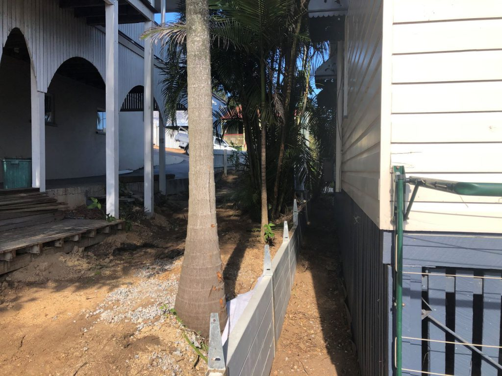 Durawall retaining wall in Red Hill with tight access before photo