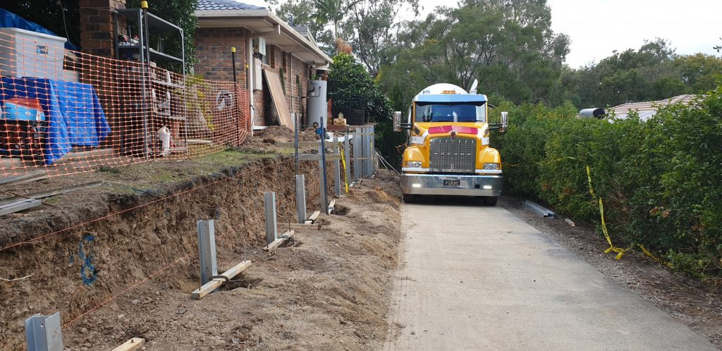 Durawall retaining wall replacement at Arana Hills concreting