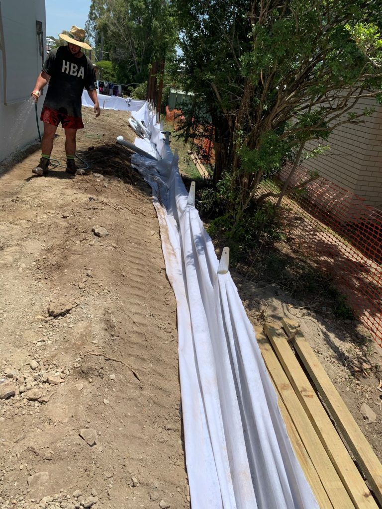 Durawall retaining wall replaced in Norman Park geofabric