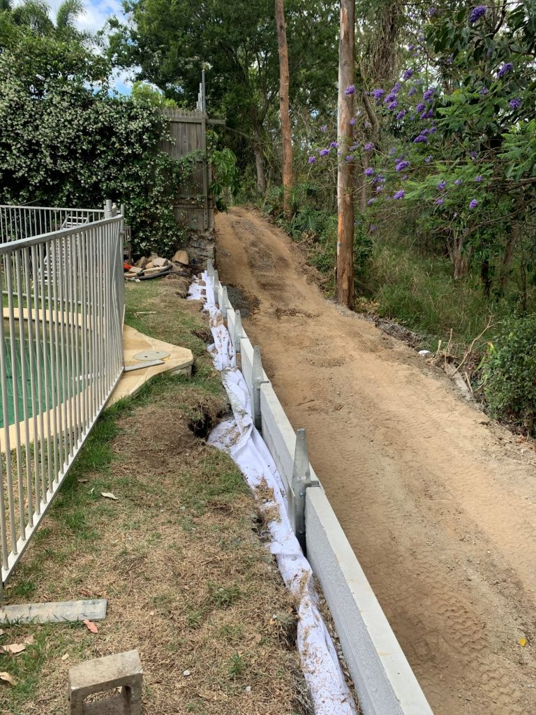 Durawall retaining wall replaced in Bardon after photo