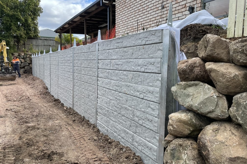 Durawall retaining wall replacement in Hemmant hampton stone design featured image